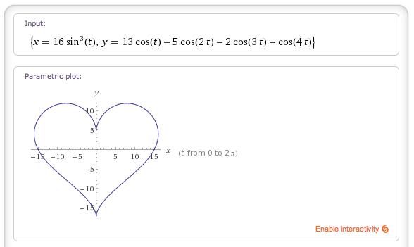 x = 16 sin^3 t, y = (13 cos t - 5 cos 2t - 2 cos 3t - cos 4t)